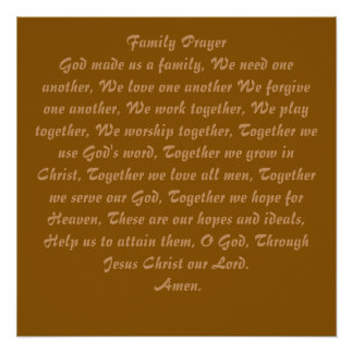 Family Prayer Poster