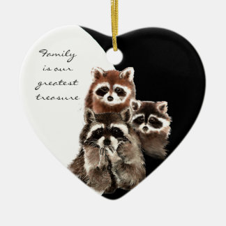 Family Quote Dated  Watercolor Raccoon Animal Christmas Ornament