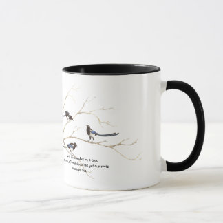 Family Quote with Watercolor Magpie Bird Family Mug