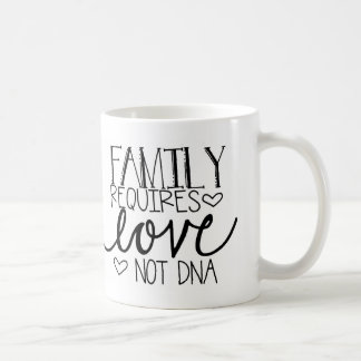 Family Requires Love Not DNA Coffee Mug