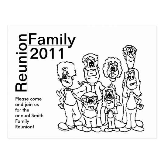 Family Reunion 2011 Colouring Invite Postcard