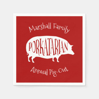 Family Reunion Annual Pig-Out BBQ Funny Disposable Serviettes