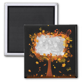 Family Reunion Autumn Tree Photo Frame Magnet