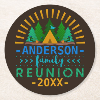 Family Reunion Camping Trip Party   Custom Name Round Paper Coaster