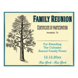 free family reunion certificates templates - family reunion award gifts t shirts art posters