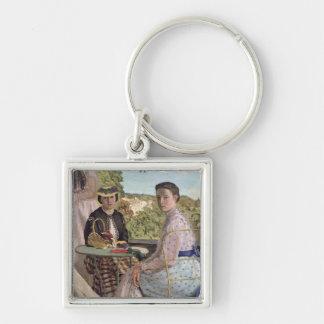 Family Reunion, detail of two women, 1867 Key Ring