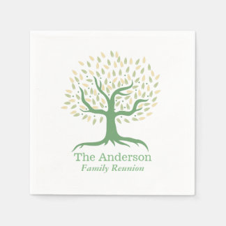 Family Reunion Family Tree Elegant Green Paper Serviettes