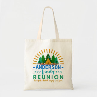 Family Reunion Funny Camping Tent | Custom Name Budget Tote Bag