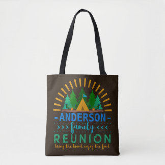Family Reunion Funny Camping Tent | Custom Name Tote Bag