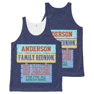 Family Reunion Funny Wooden Sign | Custom Name All-Over Print Tank Top
