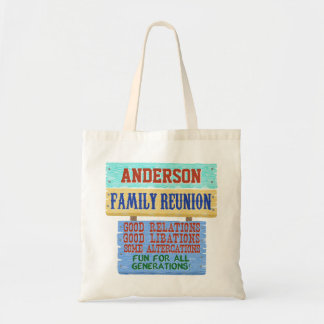 Family Reunion Funny Wooden Sign | Custom Name Tote Bag