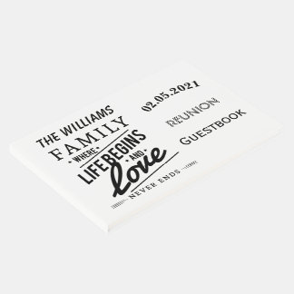 Family Reunion Guestbook Typography Black White