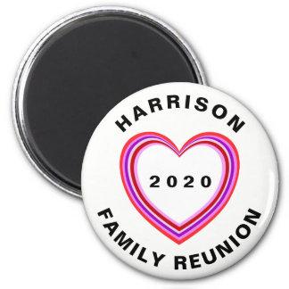 Family Reunion Heart Design Round Dated Keepsake 6 Cm Round Magnet