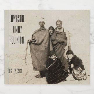 Family Reunion Old Sepia Beach Photo Beer Bottle Label