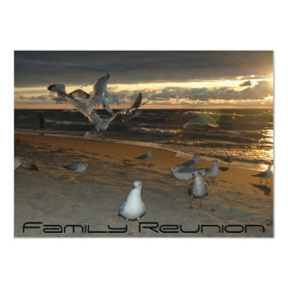 Family Reunion on the Beach Seagull Evening Sunset 11 Cm X 16 Cm Invitation Card