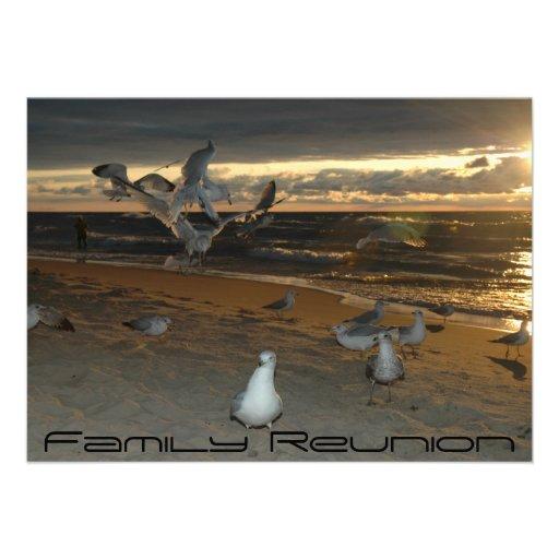 Family Reunion on the Beach Seagull Evening Sunset Custom Invitation