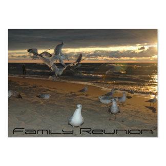 "Family Reunion on the Beach Seagull Evening Sunset 4.5"" X 6.25"" Invitation Card"