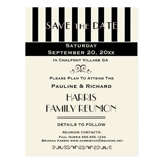 Family Reunion, Party, Event Striped Save the Date