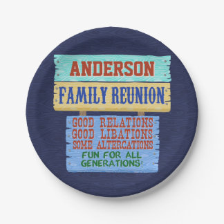 Family Reunion Party Funny Wooden Sign | Add Name Paper Plate