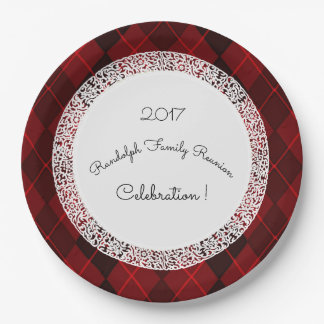 Family-Reunion_Template(c)Classic-Red-Argyle 9 Inch Paper Plate