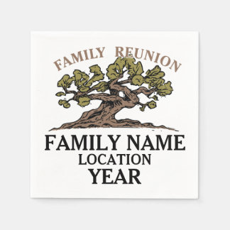 Family Reunion Tree Paper Napkins