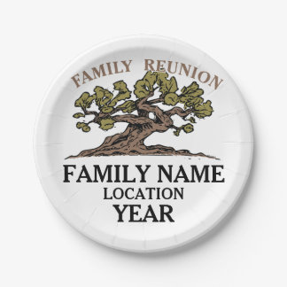Family Reunion Tree Paper Plates 7 Inch Paper Plate