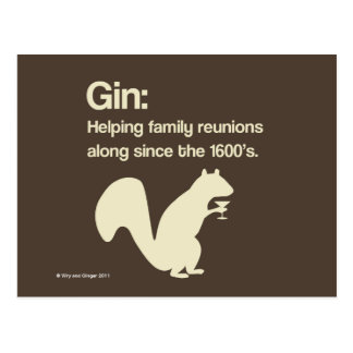 Family Reunions and Gin postcard