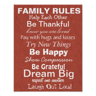 FAMILY RULES, Inspiration for a happy family! Red Poster