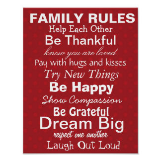 FAMILY RULES, Inspiration for a happy family! Red Print