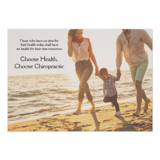Family Running Along Beach Chiropractic Poster
