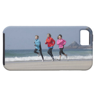 Family running together on beach tough iPhone 5 case