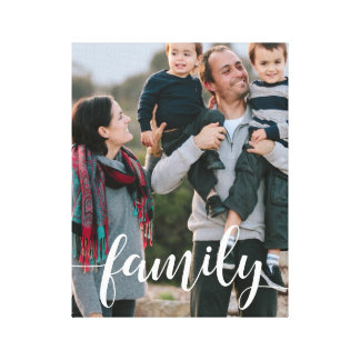 Family Script Overlay Photo Canvas Print