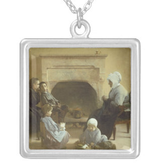 Family seated around a hearth silver plated necklace