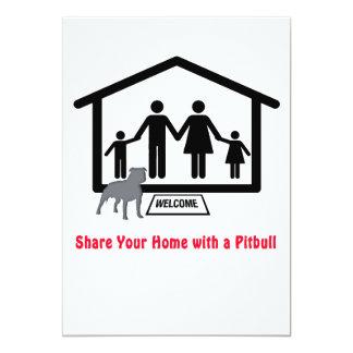 Family Share Home with Pitbull 13 Cm X 18 Cm Invitation Card