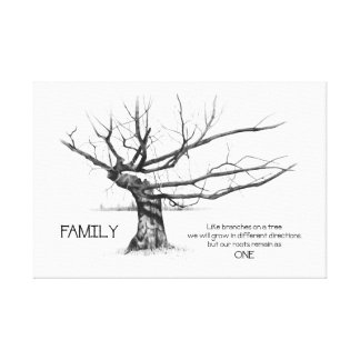 Family: Share ONE Root, Quote, Gnarly Tree, Pencil Canvas Print