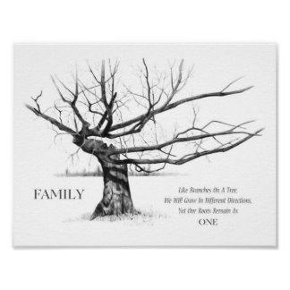 Family: Share ONE Root, Quote, Gnarly Tree, Pencil Poster