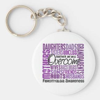 Family Square Fibromyalgia Basic Round Button Key Ring