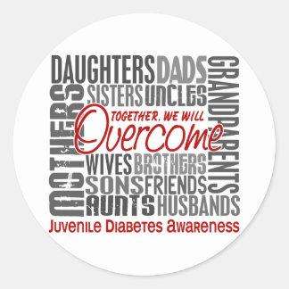 Family Square Juvenile Diabetes Classic Round Sticker