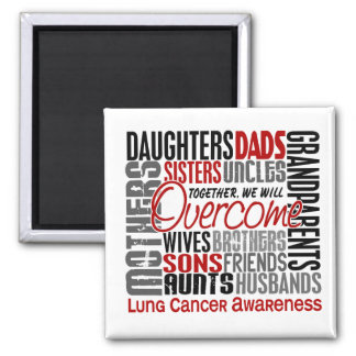 Family Square Lung Cancer Fridge Magnets