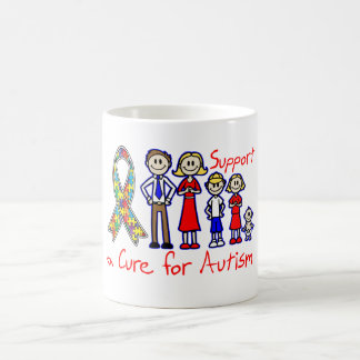 Family Support a Cure For Autism Basic White Mug