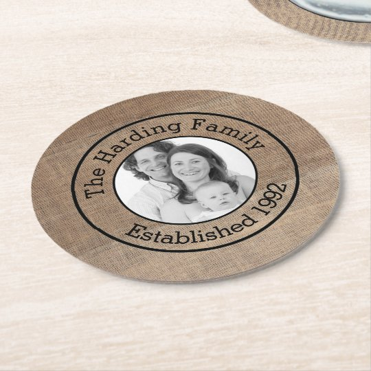 Family Surname and Photo Personalised Round Paper Coaster