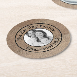 Family Surname and Photo Personalized Round Paper Coaster