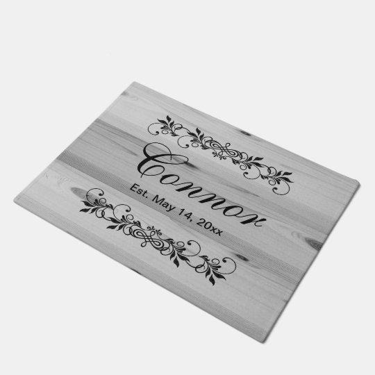 Family Surname Faux Grey Wood Doormat | Zazzle