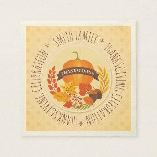 Family.  Thanksgiving Celebration. Custom. Disposable Napkin