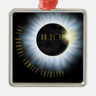 Family Totality Eclipse Add Name Christmas Ornament