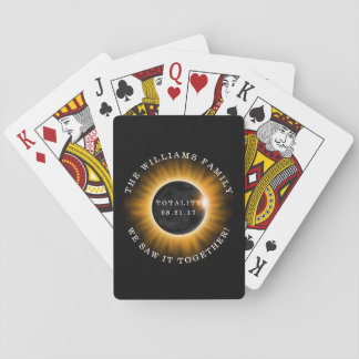 Family Totality Solar Eclipse Personalized Playing Cards