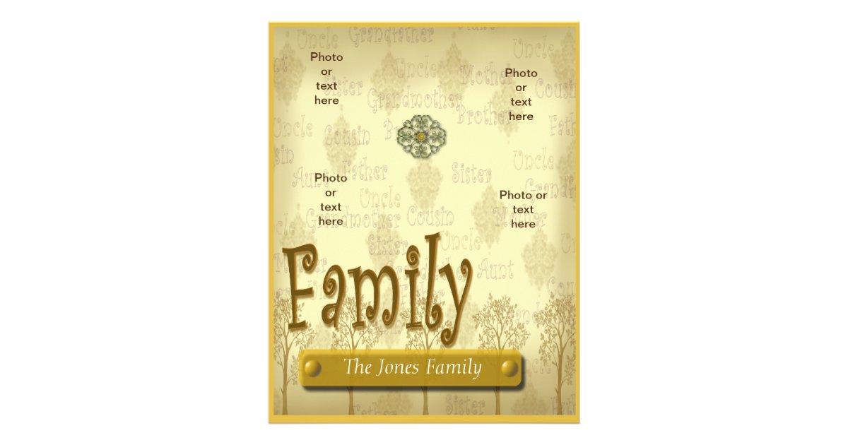 Family Tree Genealogy Flyer Or Scrapbook Template Zazzle