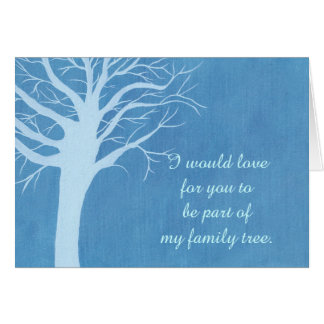 Family tree marriage proposal card