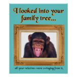 Family Tree Monkey Funny Print Poster Sign Humour