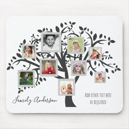 Family Tree Photo Collage Template Personalised Mouse Mat